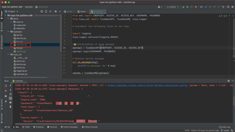 开发设备控制和消息订阅服务( Python SDK - To C)