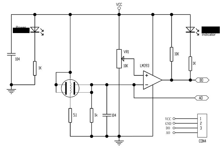Circuit diagram of MQ series gas sensor module