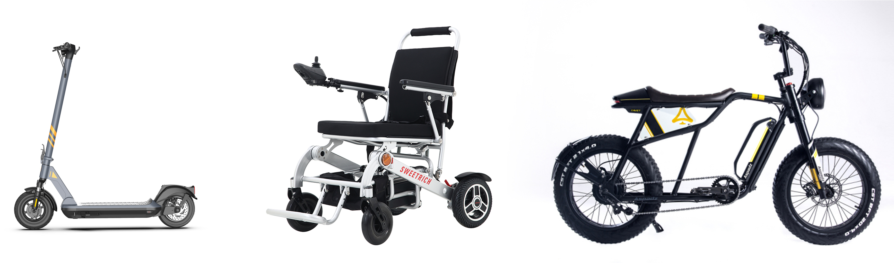 【Left: Smart Scooter,Middle: Smart Wheelchair,Right: Smart Electric Bicycle】